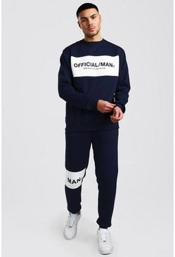 Navy Official MAN Colour Block Sweater Tracksuit