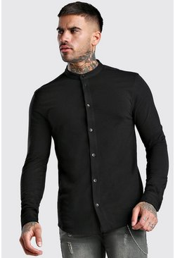 Black Long Sleeve Grandad Collar Muscle Fit Jersey Shirt