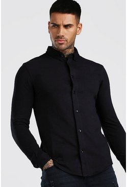 Camicia attillata in jersey con maniche lunghe e colletto regular, Nero