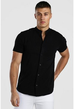 Black Short Sleeve Grandad Collar Muscle Fit Jersey Shirt