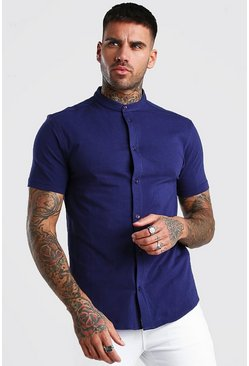Navy Short Sleeve Grandad Collar Muscle Fit Jersey Shirt