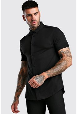 Black Short Sleeve Muscle Fit Jersey Shirt