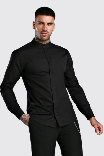 Black Grandad Collar Long Sleeve Cotton Poplin Shirt