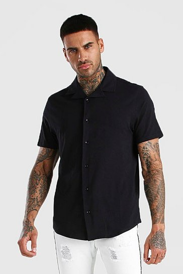 Black Short Sleeve Revere Collar Muscle Fit Jersey Shirt