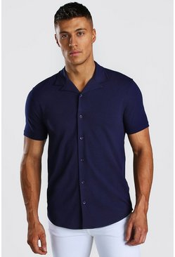 Navy Short Sleeve Revere Collar Muscle Fit Jersey Shirt