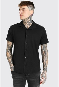 Black Short Sleeve Revere Collar Jersey Shirt