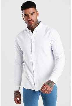 Camisa oxford de manga larga, Blanco