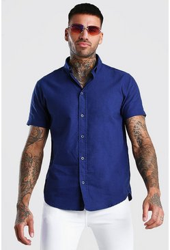 Chemise Oxford manches courtes, Marine