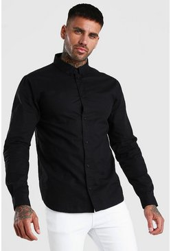 Black Long Sleeve Cotton Poplin Shirt