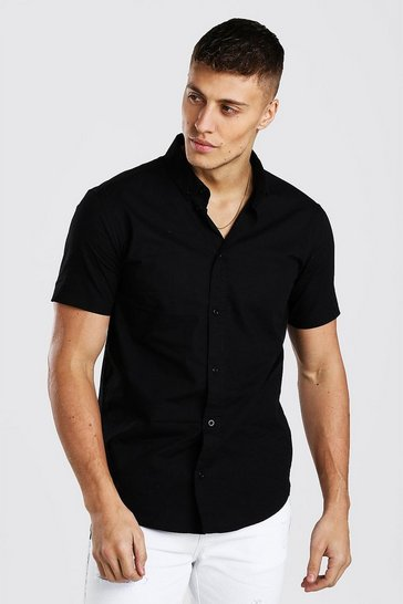 Black Short Sleeve Cotton Poplin Shirt