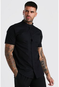 Black Short Sleeve Grandad Collar Cotton Poplin Shirt