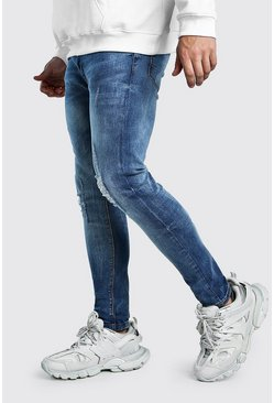 Mens Mid blue Stretch Skinny Jean With Knee Rips