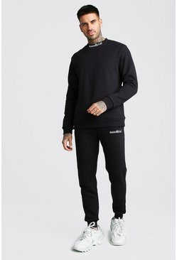 Black MAN Official Neck Print Sweater Tracksuit