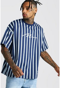 Mens Navy Oversized MAN Signature Vertical Stripe T-Shirt