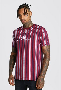 Mens Burgundy MAN Signature Vertical Stripe T-Shirt