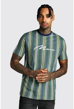 Mens Khaki MAN Signature Vertical Stripe T-Shirt