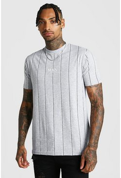 Mens Grey MAN Print Vertical Stripe T-Shirt