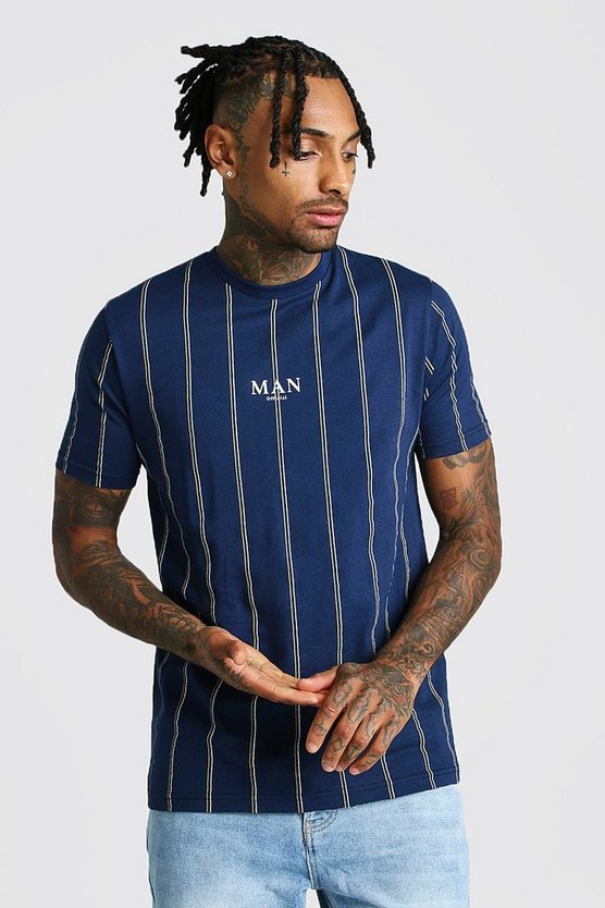Navy MAN Official Print Vertical Stripe T-Shirt