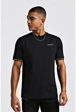 Mens Black Original MAN Print T-Shirt With Cuff Print