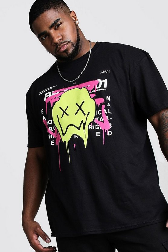 Black Big And Tall Drip Face Graffiti T-Shirt