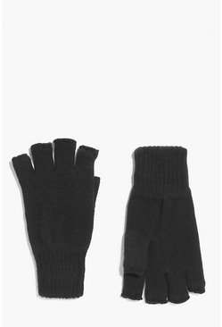 Mens Black Thermal Fingerless Magic Gloves