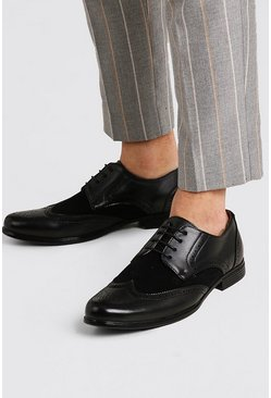 Black Mix Material Brogue