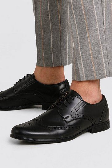 Black Faux Leather Brogue