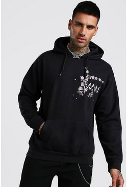 Black Original MAN Floral Placement Print Hoodie