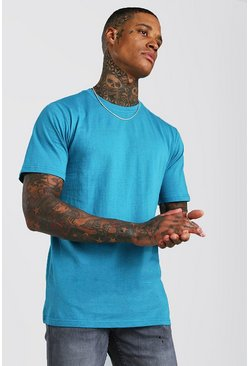 Blue Basic T-shirt med rund hals