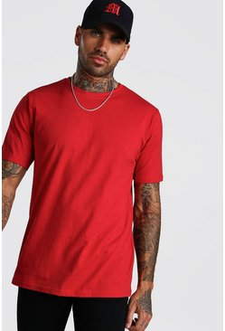 Fire red Basic Crew Neck T-Shirt