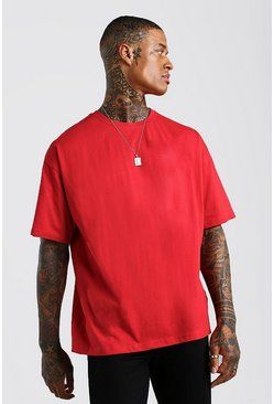 Fire red Oversized Crew Neck T-Shirt