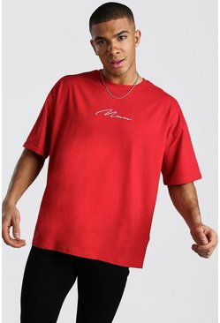 Fire red Oversized MAN Signature T-Shirt