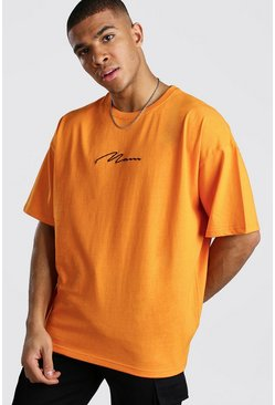 Orange Oversized MAN Signature T-Shirt