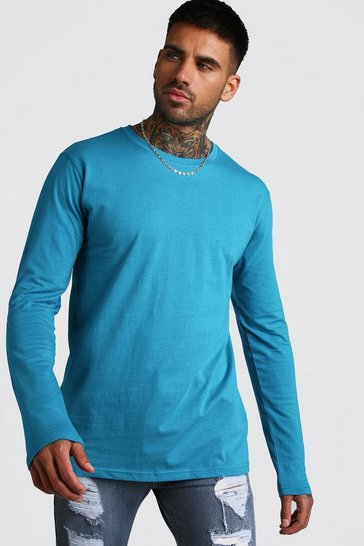 Blue Basic Long Sleeve Crew Neck T-Shirt