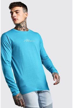 Blue MAN Signature Long Sleeve T-Shirt