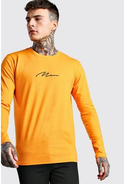 Orange MAN Signature Long Sleeve T-Shirt