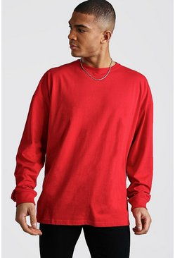 Fire red Oversized Long Sleeve T-Shirt