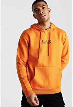 Orange Original MAN Print Over The Head Hoodie