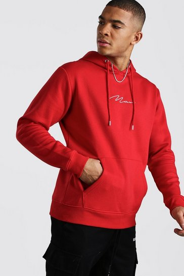 Fire red MAN Signature Embroidered Hoodie
