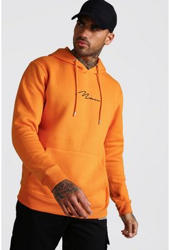 Sweat à capuche brodé signature MAN, Orange