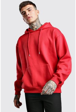 Fire red Basic Oversized Over The Head Fleece Hoodie