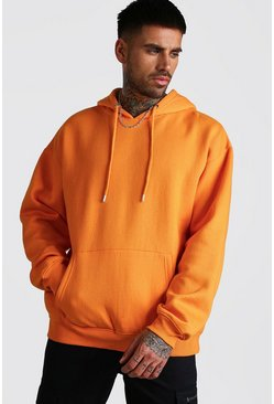 Orange Basic Oversized Over The Head Fleece Hoodie