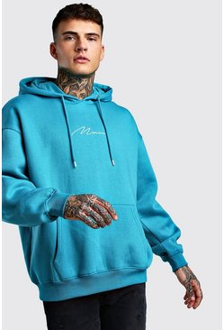 Blue Oversized MAN Signature Hoodie