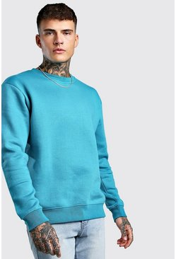 Blue Basic sweatshirt i fleece med rund hals
