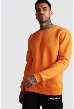 Orange Basic Crew Neck Fleece Sweatshirt