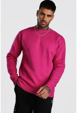 Rose Basic Crew Neck Fleece Sweatshirt