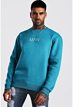 Blue Original MAN Print Fleece Sweatshirt