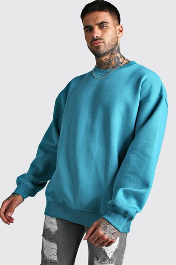 Blue Basic Oversized Fleece Sweatshirt