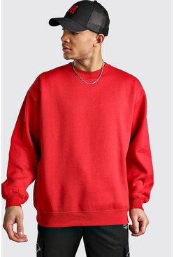Fire red Basic Oversized Fleece Sweatshirt
