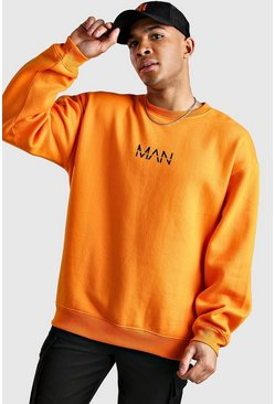 Orange Oversized Original MAN Print Sweatshirt